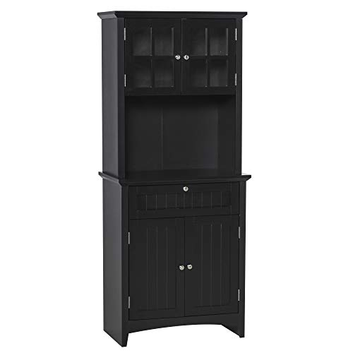 HOMCOM Kitchen Buffet Hutch Wooden Storage Cupboard with Framed Glass Door, Drawer and Microwave Space, Black