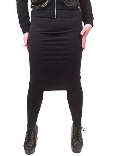 Hard Tail Forever Supplex Pencil Skirt, Knee Length, Stretchy Style SUP-08 M Black