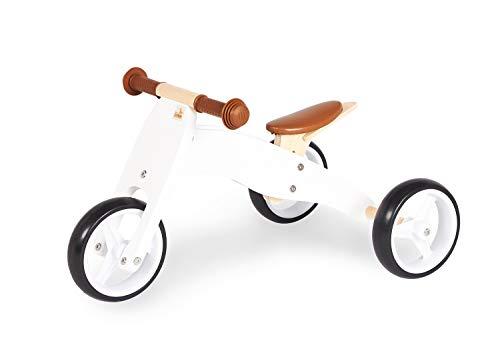Pinolino Charlie Mini Tricycle en Bois de Type draisienne 4 possibilités de Transformation, Hauteur de Selle réglable, 6 Positions, pour Les Enfants à partir de 1,5 Ans, Blanc/Naturel