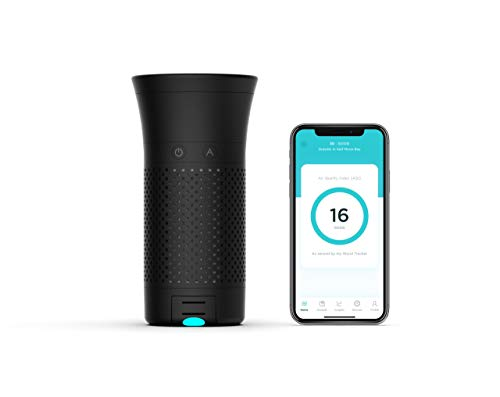 Wynd Plus – Smart Portable Personal Air Purifier for Travel, Home, Office with Detachable Air Quality Tracker - Black Matte