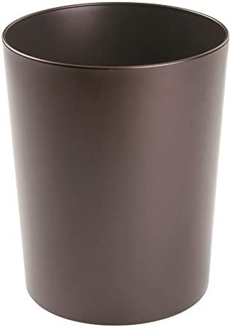 mDesign Metal Wastepaper Bin — Compact Metal Bathroom Bin — Round-Shaped Rubbish Basket for Home and Office — Pink