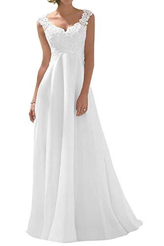 Romantic-Fashion Brautkleid Hochzeitskleid Weiß Modell W191 A-Linie Stickerei Chiffon DE Größe 48