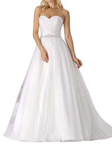 Brautkleid Lang Hochzeitskleider Damen Prinzessin Herzausschnitt mit Gürtel A-Linie Weiß EUR48