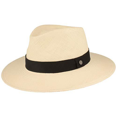 ORIGINAL Panama-Hut | Stroh-Hut | Sommer-Hut aus Ecuador - mit Lederband - Handgeflochten, UV-Schutz, Bruchschutz (M (56-57), Weiß (Ripsband))