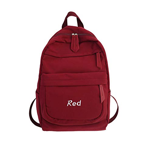 MNBVCX Backpack Female Korean High School Student Bag Casual Couple Large Capacity Travel Backpack Tide Red 27X14X43Cm