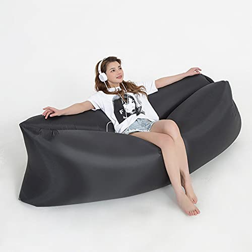 EYLIFE Air Lounger, Wasserdichter Aufblasbare Couch, Tragbares Aufblasbarer Sitzsack Aufblasbar Luftsessel mit Tragebeutel, Aufblasbarer Sessel Erwachsene für Outdoor Reisen, Mehrere Farben,Schwarz
