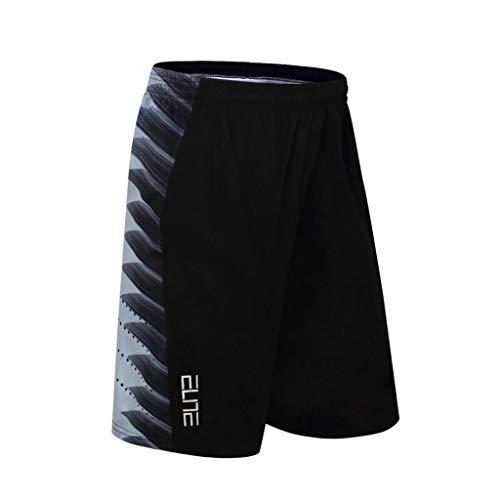 Ouice Herren Sport-Shorts Sommer für Männer Trainingshose weit und bequem, Basketball-Hosen, bequem und schnell trocknend, NBA Stars Gr. XL, 5-Schwarz