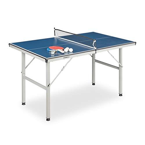 Relaxdays Tavolo da Ping Pong per Interni, con Rete, 2 Racchette, 3 Palline, HLP: 71 x 75 x 125 cm, Grigio e Blu Unisex Adulto, 1 pz