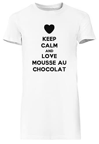Keep Calm and Love Mousse Au Chocolat Blanca Vestido Largo Mujer Camiseta Tamaño L White Dress Long Women