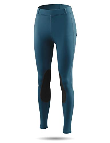 BALEAF Women's Riding Tights Knee-Patch Breeches Horse Pants Equestrian Active Schooling Pocket UPF50+ Blue Wing Teal M