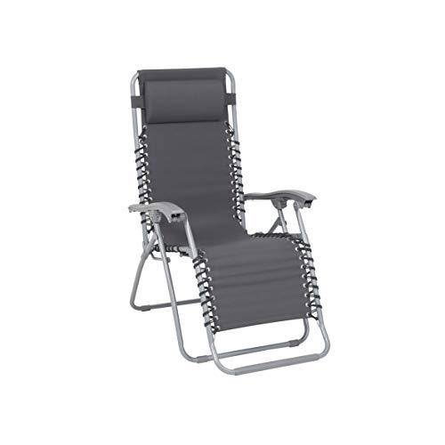 Greemotion teramo tuinbed, grijs-zonneligstoel, inklapbaar, met kussen op het hoofdeinde, ligstoel voor camping, strand, tuin, terras en balkon, 6,5 x 9,5 x 2,6 cm