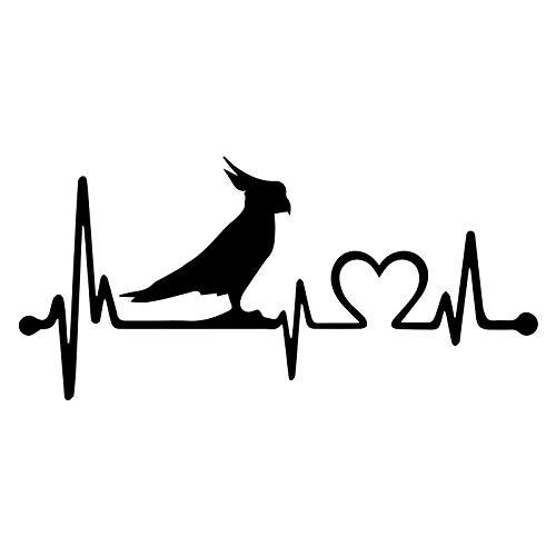 ZQZL Forma de Coche Parrot Crested Parrot Bird Heartbeat Lifeline Etiqueta engomada del Coche Ventana del Cuerpo calcomanía de Vinilo Pegatina Reflectante 20,3 cm * 9,5 cm