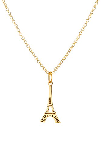 Córdoba Jewels Kette in Sterling-Silber 925Vergoldeter mit Design Eiffelturm Gold