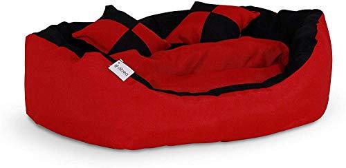 Dibea Cuscino per Cani, Rosso/Nero, 65 X 50 X 20 cm