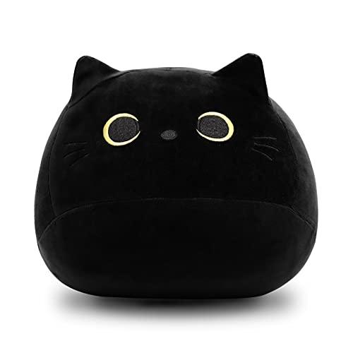 3D Black Cat Plush Stuffed Animal Toy Pillow, Fat Black Cat Stuffed Animal Cat Plushie, Kawaii...