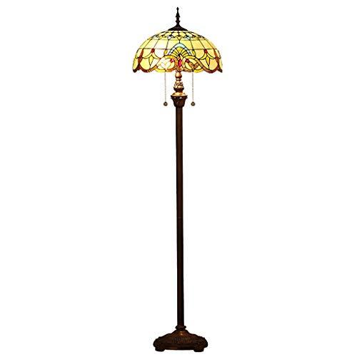 Luces Decorativas Lámpara de pie de vidrio estilo verde sombra de lectura antigua iluminación con interruptor de tirón y interruptor de pie dormitorio sala de estar Lámparas (Color : Brown)