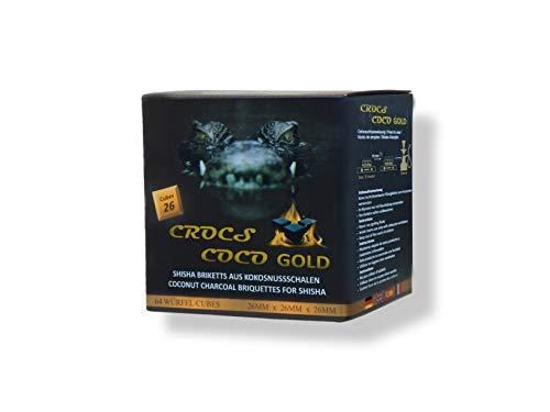 CROCS COCO Oro I Carbón de coco con larga duración I 26 x 26 mm Carbón natural sostenible I Poco cenizas I Baja generación de humo I Carbón para barbacoa I Cubos de carbón en calidad premium I 1 kg