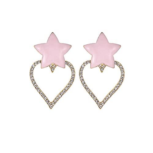 Earring Crystal Heart Star Drop Earrings For Women Earrings Long Statement Fashion Party Handmade Tassel Accessories-Pink