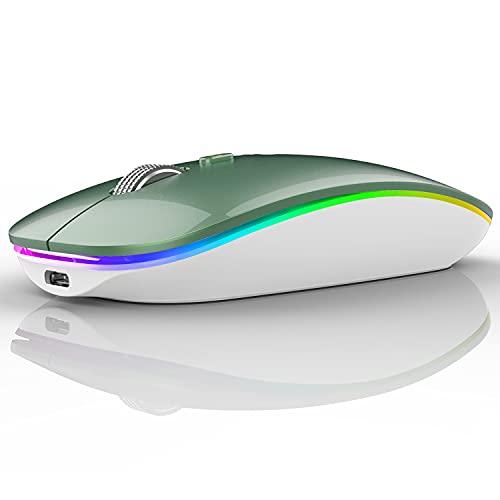 Uiosmuph Ratón inalámbrico LED, G12 Delgado Recargable inalámbrico silencioso ratón, 2.4 G, USB óptico inalámbrico, ratón con Receptor USB y Adaptador Tipo C (Green)