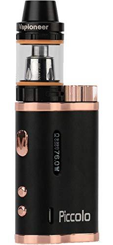 Vapioneer® Piccolo | E-Zigarette 5-76 Watt | E-Shisha mit 2ml Tankinhalt für Liquid | Dampfer mit 18650 Batterie (Schwarz/Eisen) | Ohne Nikotin