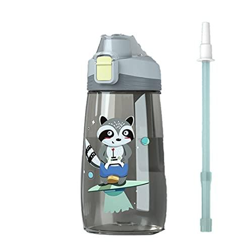 Xuefang Botella de agua sin BPA para niños con pajita 500ml Baby Sippy Cups con tapas a prueba de fugas engrosadas Cartón Bebida Botella deportiva