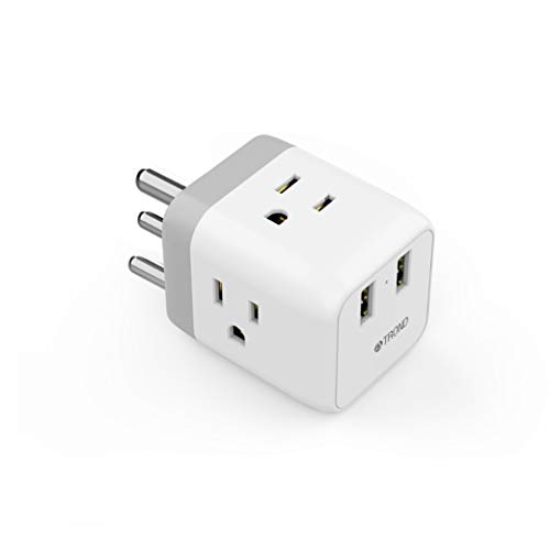 India Power Adapter, TROND Safe Grounded Travel Plug Adapter, 2 USB Ports, 3 American Outlets, for USA to Bangladesh Nepal Pakistan Sri Lanka Dubai Mumbai, Type D