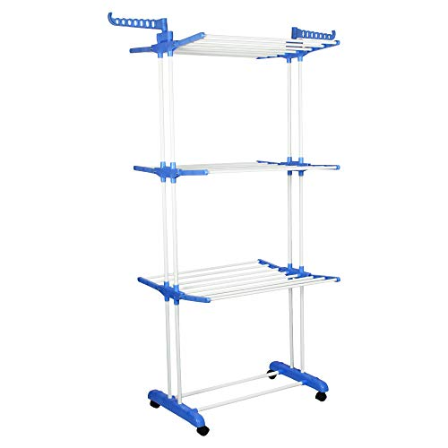 Magna Homewares Heavy Duty Steel Grandis Plus 3 Layers Cloth Drying Stand with Wheels and Cloth Hangers-Blue