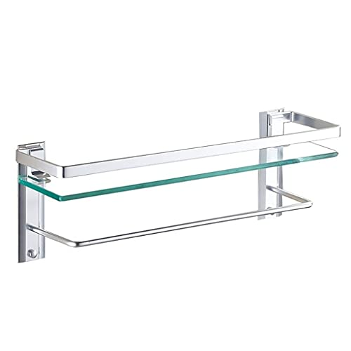 Estante De Vidrio Templado para Baño Cuarto De Ducha para Baño Toallero Espejo De Baño Montado En La Pared Estante Frontal De Una Sola Capa (Color : Clear, Size : 40×12×17cm)