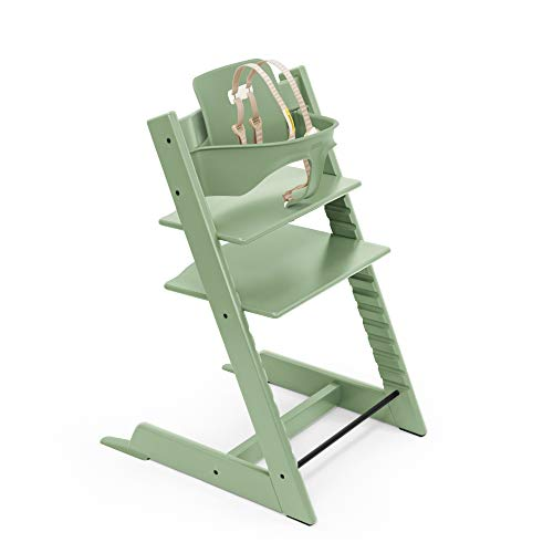 Tripp Trapp High Chair from Stokke, Moss Green - Adjustable, Convertible Chair for Children & Adults - Includes Baby Set with Removable Harness for Ages 6-36 Months - Ergonomic & Classic Design