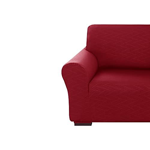 Amazon Brand - Umi Fundas para Sofa 1 Pieza Funda Sofa Ajustable Elasticas con Patrón de Onda Funda Protectora Suave Rojo Oscuro