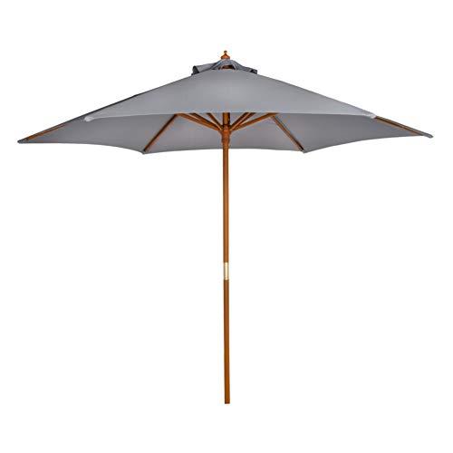 Aktive - Parasol hexagonal Garden diámetro 270 cm - Mástil de madera 38 mm - Color gris (ColorBaby 53861)