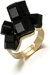 Gold Color Ring With Black Rhinestone