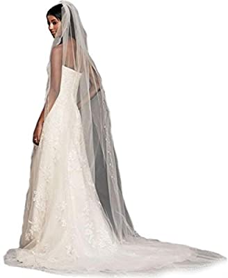 Gogh 1Tier 3M Floral Beaded Bridal veil Scallop Edge cathedral veils bridal wedding veils 27