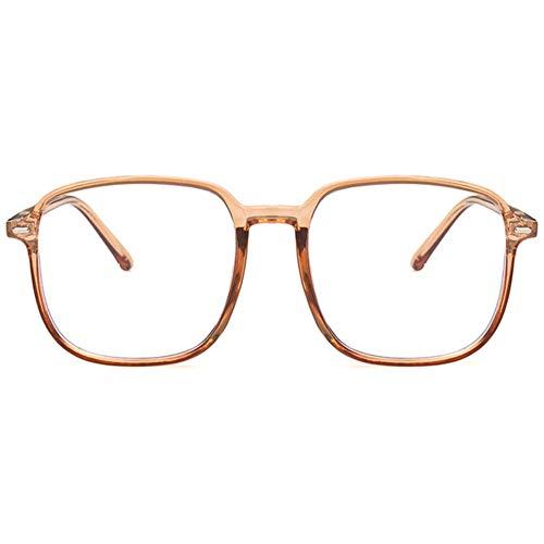 KOOSUFA Blaulichtfilter Brille Groß Damen Mode Anti Blaulicht Brille Ohne Sehstärke Retro Quadratischer Brillengestelle Computer Gaming Anti Müdigkeit Brillen mit Etui (Durchsichtig Braun)