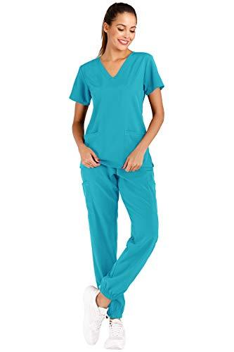 Minty Mint Conjunto de uniforme médico elástico sólido para mujer con cuello en V y pantalones de jogger cónicos, verde azulado, (Teal1), S