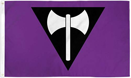 Lesbian Ax (Labrys) Pride 3x5 Foot Flag - Bold Vibrant Colors, UV Resistant, Golden Brass Grommets, Durable 100 Denier Polyester, Mighty-Locked Stitching - Perfect for Indoor or Outdoor Flying!