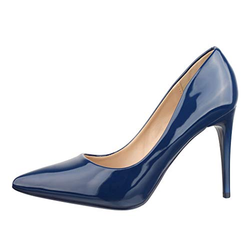 Elara Damen Pumps Spitz High Heels Stiletto Chunkyrayan B-80 Blue-36