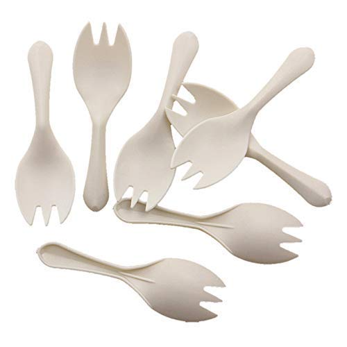 """GreenWorks Eco-Friendly 3.3"""" Mini Plant Starch Disposable Tasting Sporks,1000 Ct Cornstarch Sporks (Forks Spoons) for Appetizers and Dessert"""