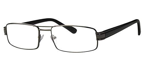 Euro Optics hoogwaardige leesbril voor heren +3,0 metalen montuur grijs kant-en-klare bril leeshulp