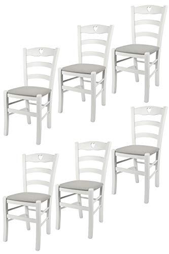 t m c s Tommychairs - Set 6 sedie modello Cuore per cucina bar e sala da pranzo, robusta struttura in Legno di faggio laccato bianco e seduta rivestita in tessuto colore grigio perla