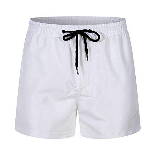 Moent Bañador para hombre, pantalones cortos de playa, deportivos, informales, de secado rápido, con malla interior, pantalones cortos de verano (blanco, XXL)
