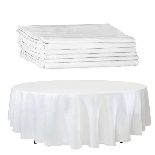 """6 White Paper Table Cloths for Round Tables - 82"""" Octyround Paper Tablecloths with Plastic Backing Round Paper Table Cover"""