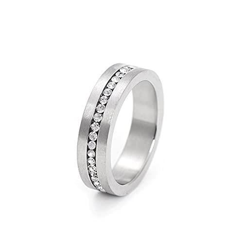 Anillo de acero de titanio con anillo de diamante y anillo de acero inoxidable de circón