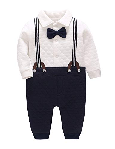 malapina Newborn Baby Boy Dress Clothes Baptism Gentleman Tuxedo Suits Outfits Warm Romper Outerwear Coat (A04, 0-3 Months)