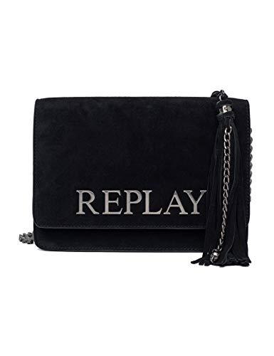 REPLAY Fw3788.009.a3154 - Borse a tracolla Donna, Nero (Black), 7x17x25 cm...