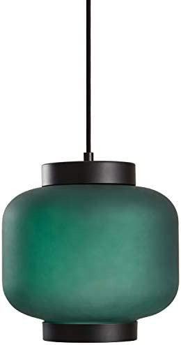 Amazon Brand Rivet Mid Century Outer Frosted Glass Finish Pendant Light with Bulb 60 H Green product image