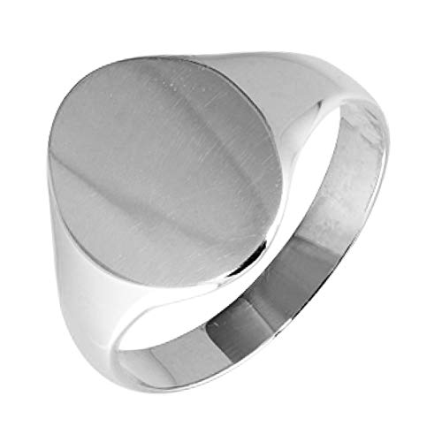 Womens Solid Sterling Silver Oval Shape Medium Weight Polished Signet Ring 9x11mmm (I)