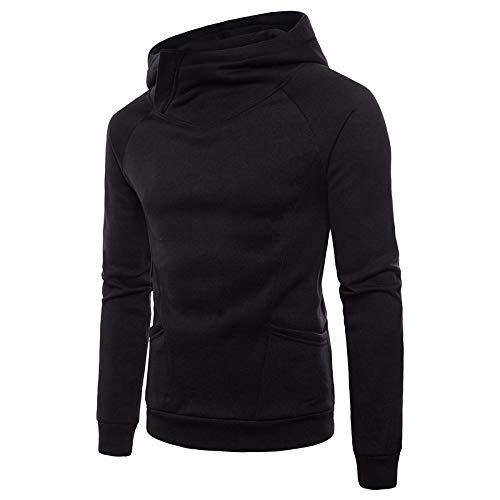 Sudadera para Hombre Color sólido Europeo y Americano Diseño de Moda de Cuerpo Grande Suéter cálido de Cuello Alto Suéter Deportivo con Capucha M