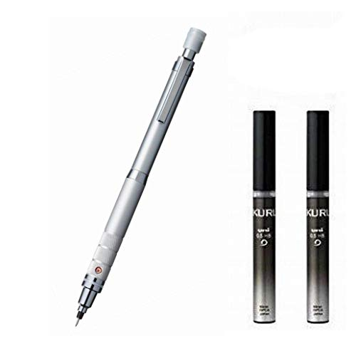 Uni Mechanical Pencil Kuru Toga Roulette Model 0.5mm Silver (M510171P.26) 1set + Uni Mechanical Pencil Lead 0.5mm for Kuru Toga HB Black Case (U05203HB.24) 2set (M510171P.26+U05203HB.24)