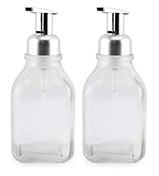 Cornucopia Glass Foaming Soap Dispensers  2-Pack Clear Bottle w/Silver Color Pump   16oz Foamer Pump Bottle for Foaming Hand Soap